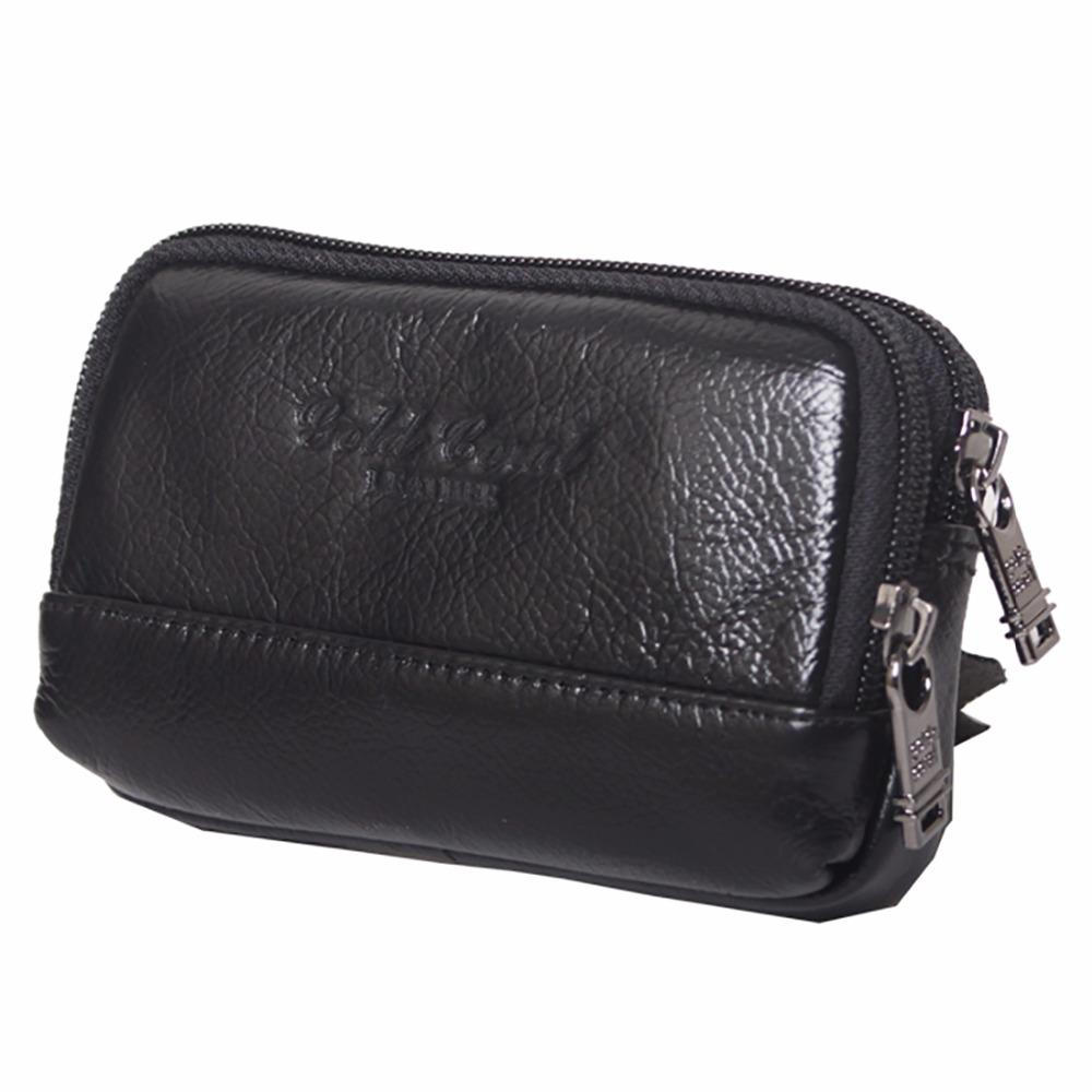 Men Real Genuine Leather Fanny Waist Pack Double Zipper Purse Holder Mobile/Cell Phone Case Hip Belt Bag Clutch Bags