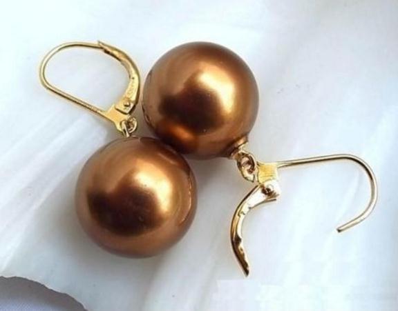 Riesige 16mm Südsee Schokolade Shell Perle Ohrringe 14K Gold Zubehör