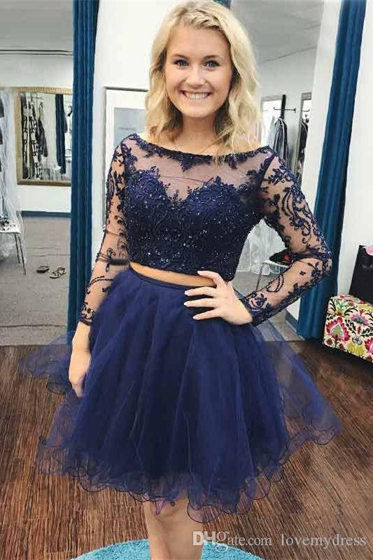 Short Navy Blue Two Pieces Prom dresses Cheap Jewel Illusion Long Sleeves Tulle A line Beaded Sequins Ruched Homecoming Party Formal Dress