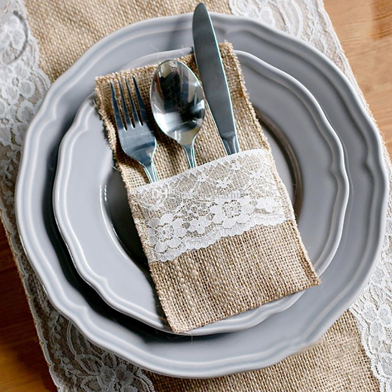 Burlap Cutlery Holder Vintage Shabby Chic Jute Lace Tableware Pouch Packaging Fork Knife Pocket Home Textiles Party Decoration WX9-791
