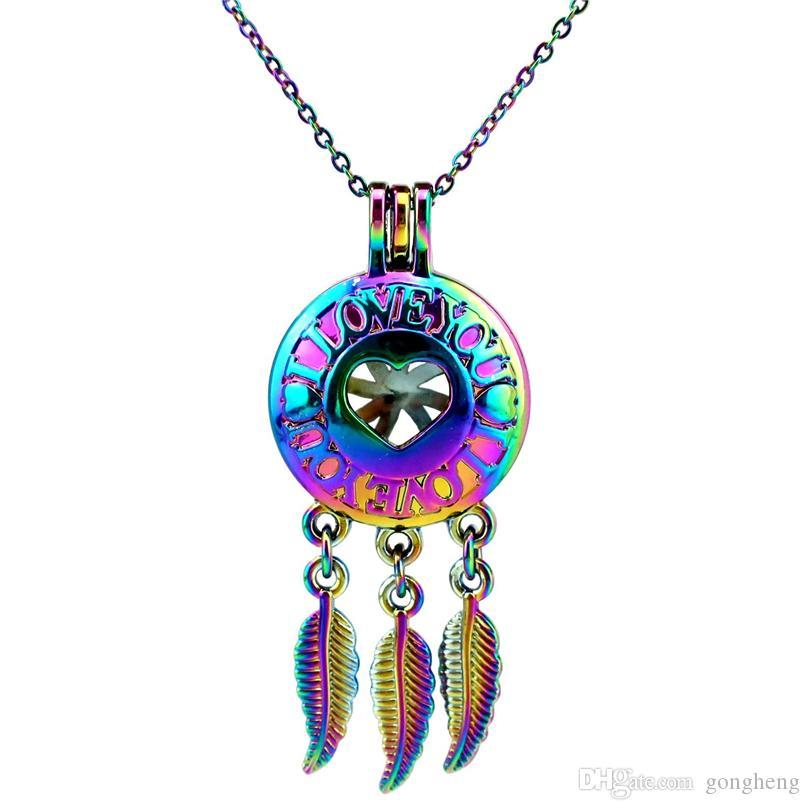 C741 Rainbow Color Dream Catcher I Love You Leaf Beads Cage Ciondolo Olio essenziale Diffusore Aromaterapia Ciondolo perla Ciondolo medaglione Collana