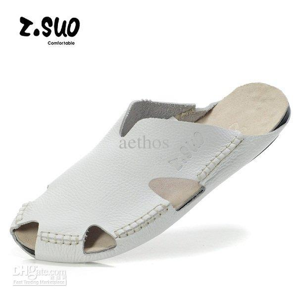 Erkek inek deri çanta ayak sandalet, açık wading sandalet, yaz plaj terlik, beyaz, 39-45