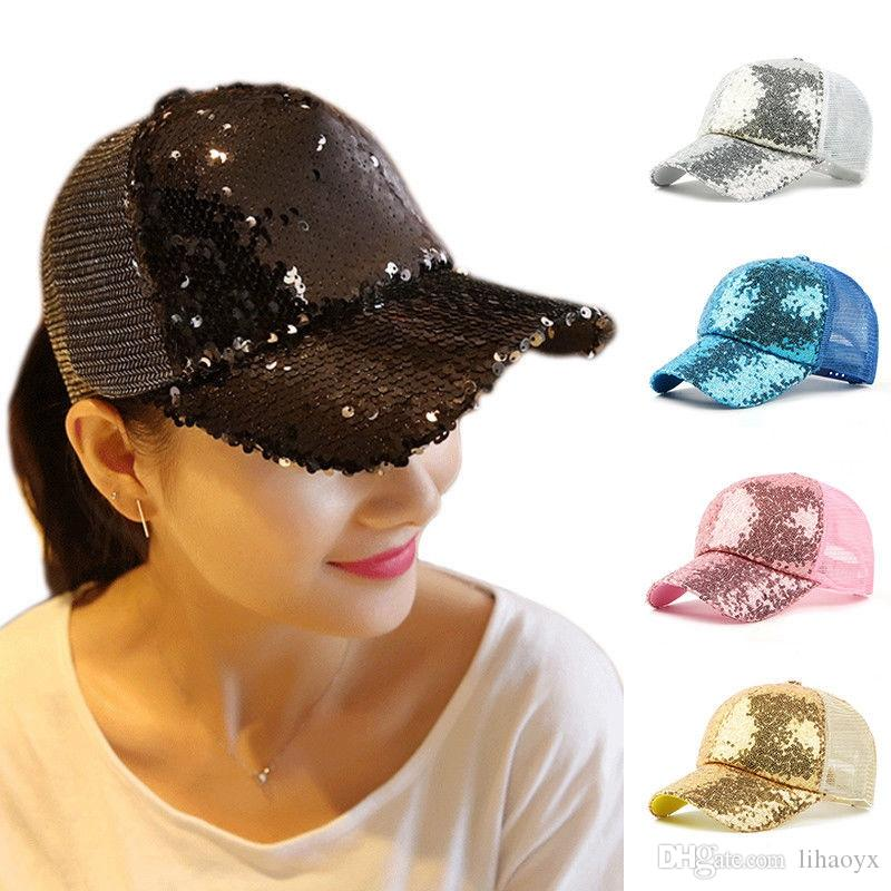 Fashion Women Ponytail Baseball Cap Sequins Shiny Messy Bun Snapback Sun Cap