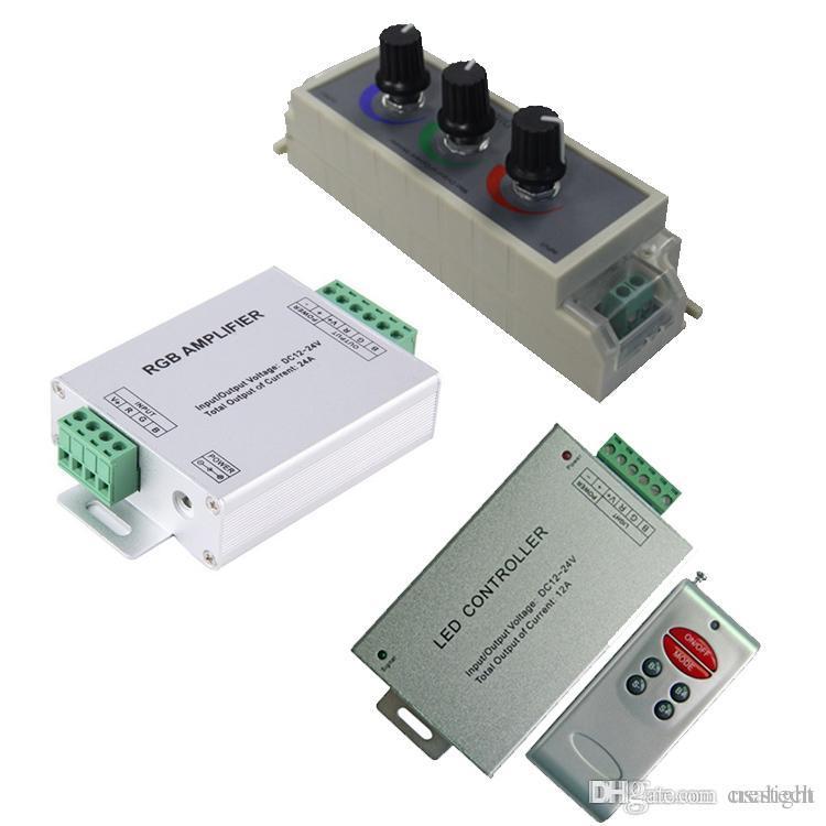 Amplificateur mené RVB / variateur PWM / contrôleur d'entrée rf 12V 24V 24A MAX pour 2835 5050 lumières