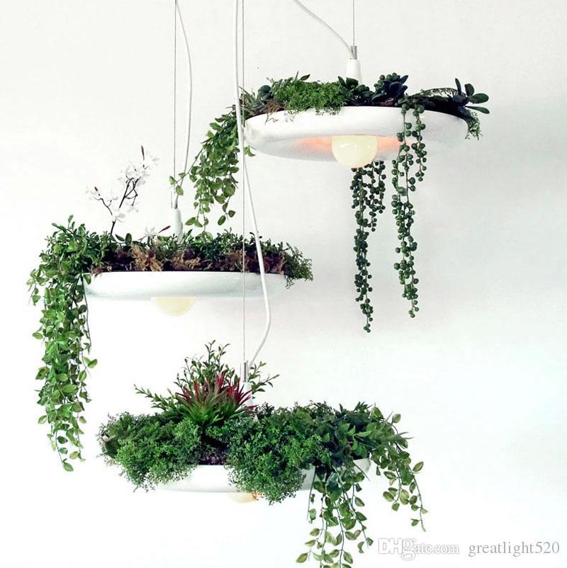 Il più nuovo Nordic Hanging Garden Lampadario in vaso DIY Deco Art Lampada a sospensione Diametro 40cm Colore bianco / nero / verde