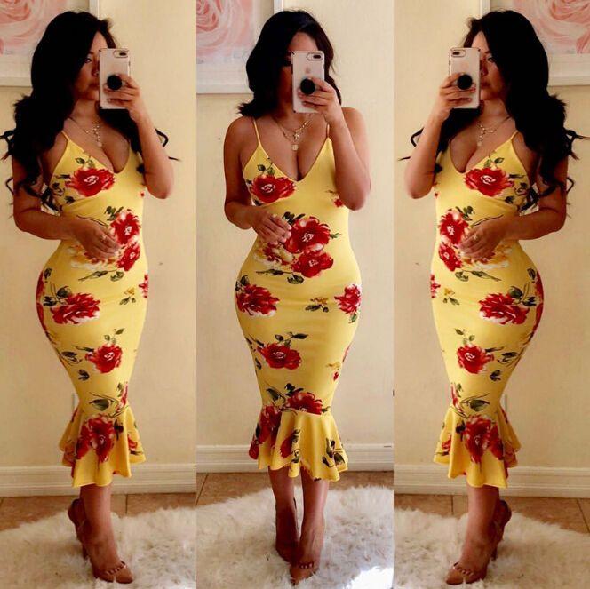 Casual Strap Deep V Neck Floral Women Bodycon Abiti senza maniche String Yellow Long Print Dress Vestidos Trumpet