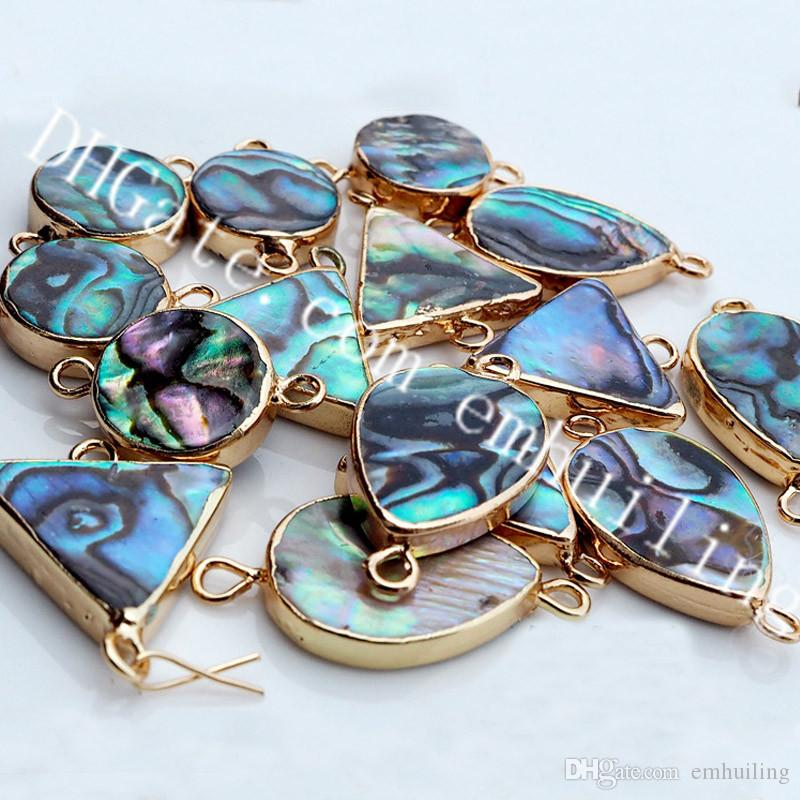 10Pcs Small Natural Round/Water Drop/Triangle Shape Abalone Shell Connector Link Double Bails Paua Shell Pendants Charms, Gold Color Contour