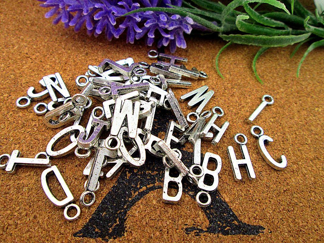 "150pcs Alphabet Letter Charms Antique Tibetan Silver Tone you pk letter ""A-Z "" Charms Pendant randomly mixed"