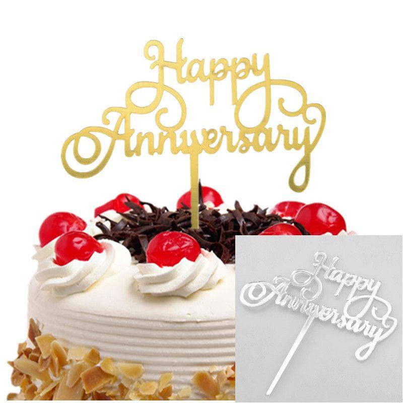 20pc Cake Toppers Banderas Aniversario Feliz Cumpleaños Niños Oro Acrílico Cupcake Topper Boda Novia Fiesta Baby Shower Hornear DIY