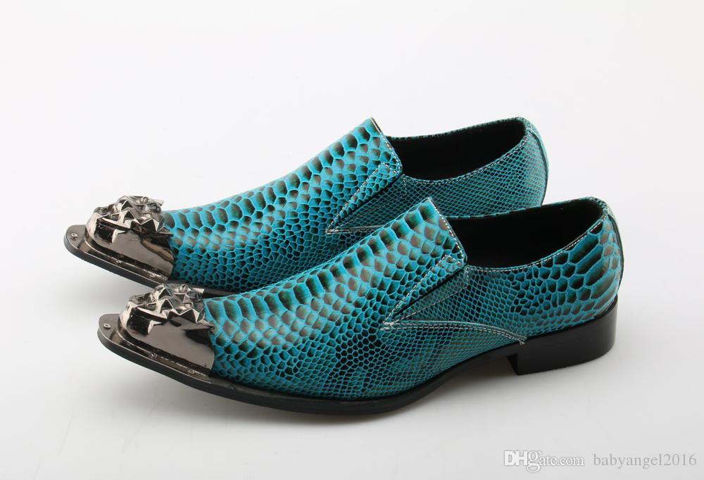 Krokodil-Art Mens-Kleid-Schuhe aus echtem Leder Handgemachte blauer Hochzeit Männlich Schuhe Slip-on-Abend-Partei-Loafers