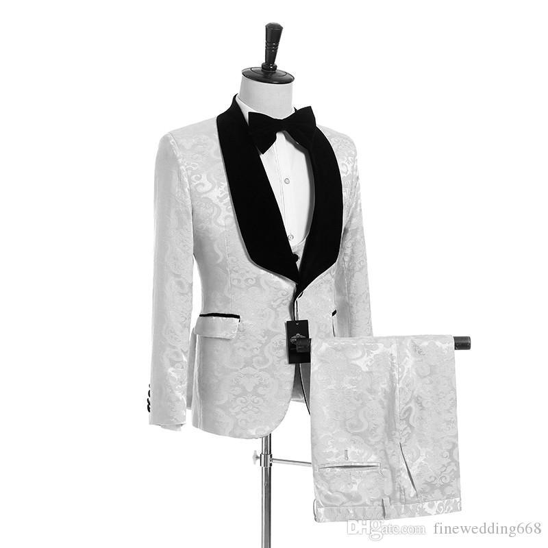 رخيصة وغرامة جاكار جديد وصول مخصص اللون زفاف العريس البدلات الرسمية الرجال الدعاوى الزفاف / حفلة موسيقية / عشاء أفضل رجل السترة (سترة + ربطة عنق + سترة + بنطلون)
