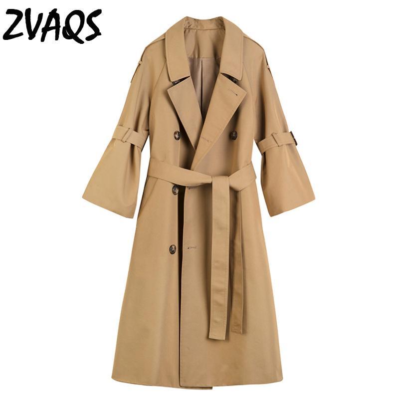 ZAVQS rüzgarlık kadın bahar Boynuz kollu uzun ince trençkot üç çeyrek kollu ceket kruvaze haki palto jf247