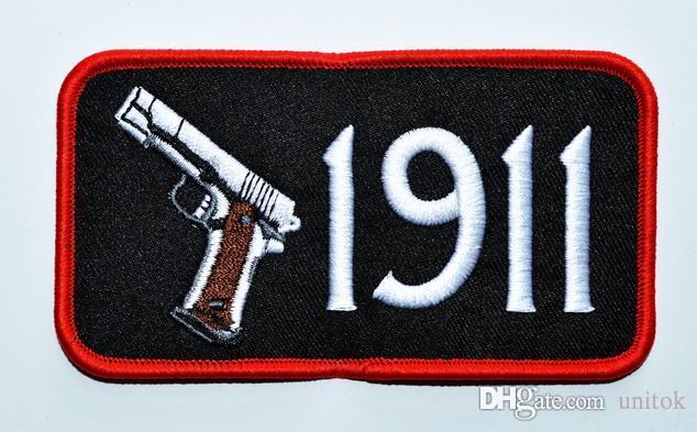pistolas pistolas 1911 vaquero occidental proscrito bordado apliques de hierro en el parche EMBLEMA DE LA PISTA 2ª ENMIENDA SEMIAUTOMÁTICA