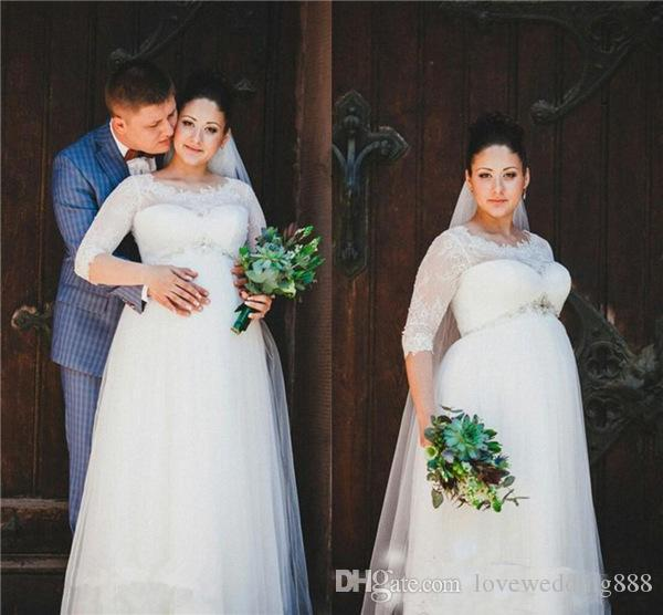 Discount 2019 Plus Size Empire Maternity Wedding Dresses Scoop Half Sleeves Lace Tulle Pregnant Bridal Wedding Gowns Wedding Dress Designer Wedding Dresses Nyc From Lovewedding888 89 75 Dhgate Com