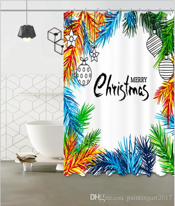 Color Garland Pattern 3D Print Custom Waterproof Bathroom Modern Shower Curtain Polyester Fabric Bathroom Curtain Door mat sets