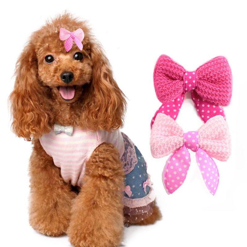 حلو الحيوانات الأليفة القط الكلب الشعر الانحناء اكسسوارات التهيأ لطيف أغطية الرأس للكلاب الصغيرة دبابيس الشعر عيد الميلاد هدية