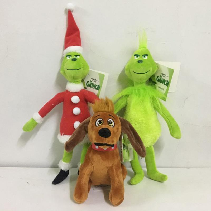 18cm 28cm 38cm How the Grinch Stole Christmas Stuffed plush dolls 2018 New Cartoon Green Grinch Action Figure Toys Kids Gift Free Shiping