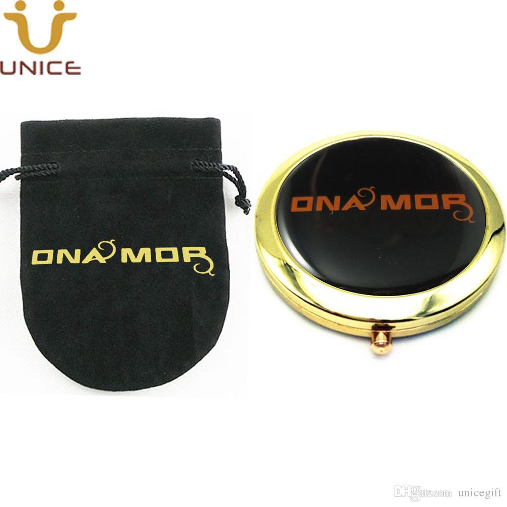 100pcs / lot Personalizza il tuo logo Gold Color Makeup Pocket Compact Mirror Personalizzato in velluto Pouch Golden pieghevole Mini specchio da viaggio