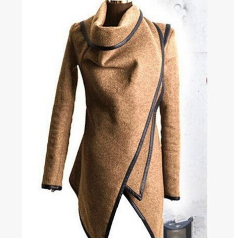 Women Woolen Blend Coats Fashion Elegant Clothing Trench Coats Slim Fit Irregular Outerwear Clothes Spring Autumn Wear