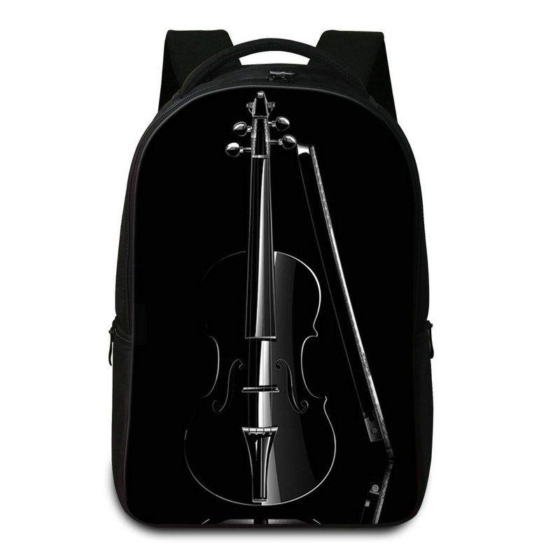 Cool Black Violin School Laptop Backpack For High Class Students Women's Casual Daypacks Men Rucksack Bagpack Mochilas