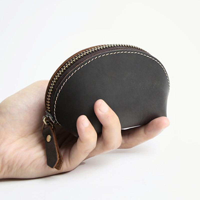 Handmade Vintage Men Shell Coin Purse Genuine Leather Zipper Pouch Mini Storage Bag Crazy Horse Leather Purse for Coins