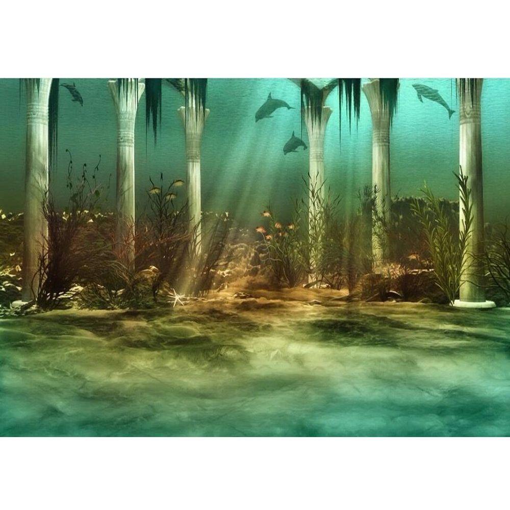 Pod morzem Światowy fotografia tło Drukowane filary Dolphin Sunshine przez głębokiego oceanu Kids Party Photo Booth background
