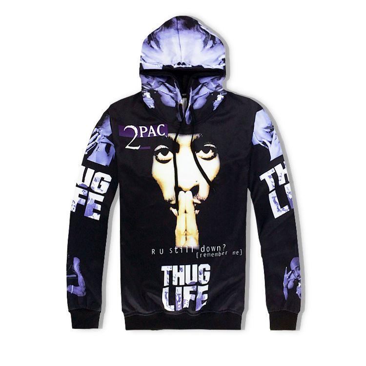 남자 2pac 3D Hoodies 멋진 가을 봄 패션 후드 스포츠 두건이 된 스웨터