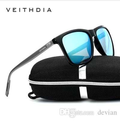 VEITHDIA Marca Unisex Retro Alumínio + TR90 Óculos De Sol Lente Polarizada Óculos Vintage Acessórios Óculos de Sol Para Homens / Mulheres 6108