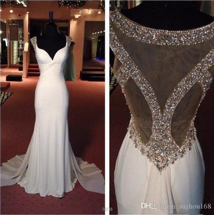 White Beaded Sparkly Chiffon Mermaid Evening Party Celebrity Dress Prom Gown