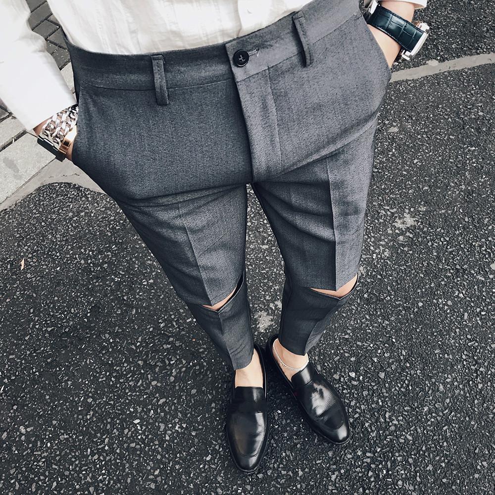 Pantalon Ripped Solid Slim Fit Hommes Robe Pantalon Bureau Pantalon Homme Pantalon Homme Slim Pantalons brisés formelles pour l'homme