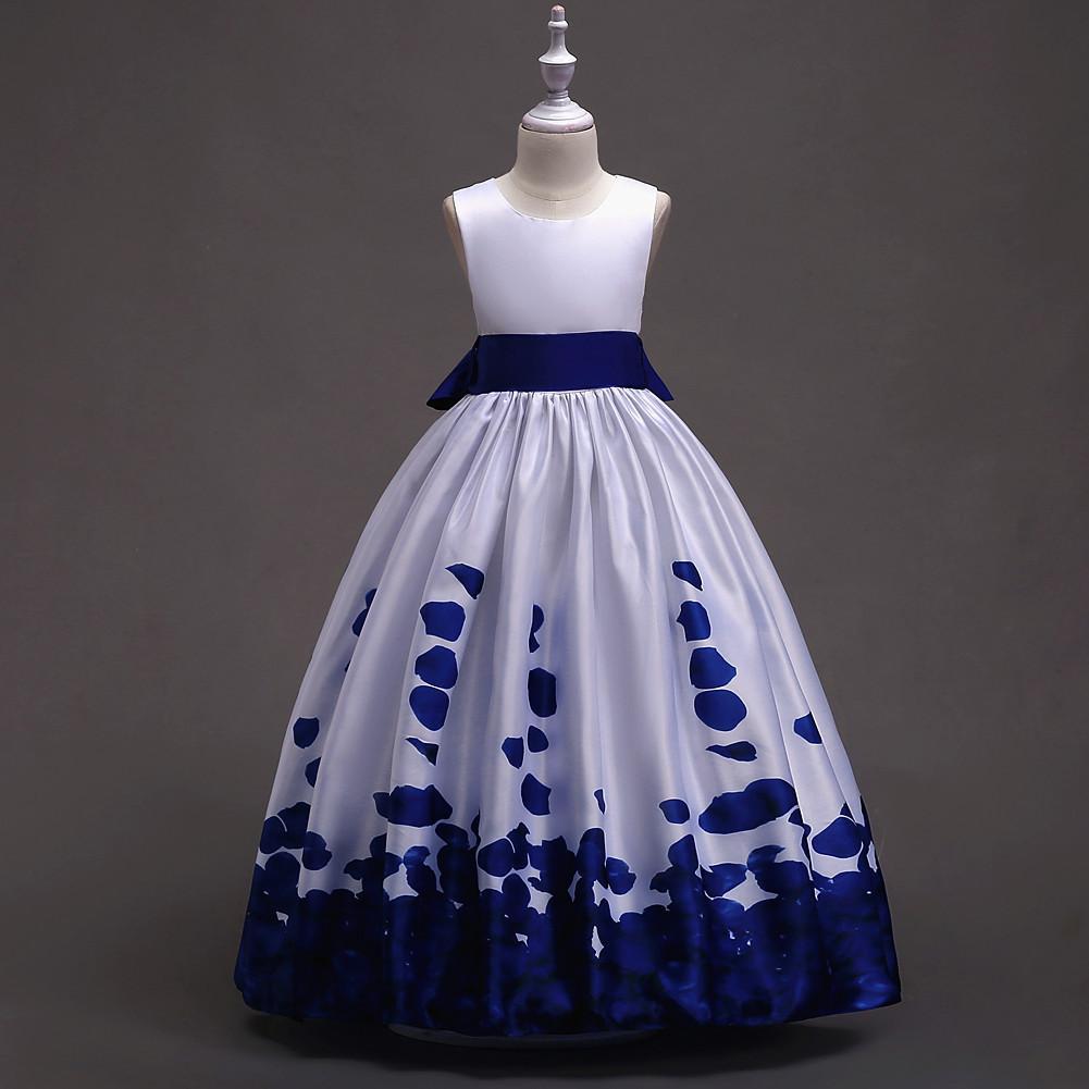 W magazynie Biały i Royal Blue Flower Girl Dresses 4-16Y Satyna Pierwsza Komunia Święta Suknie dla Dziewczyn Bow Tanie Pagewan