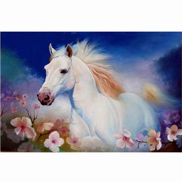 Horse in Rose DIY Round Diamond Painting Embroidery Kits Cross Stitch Craft