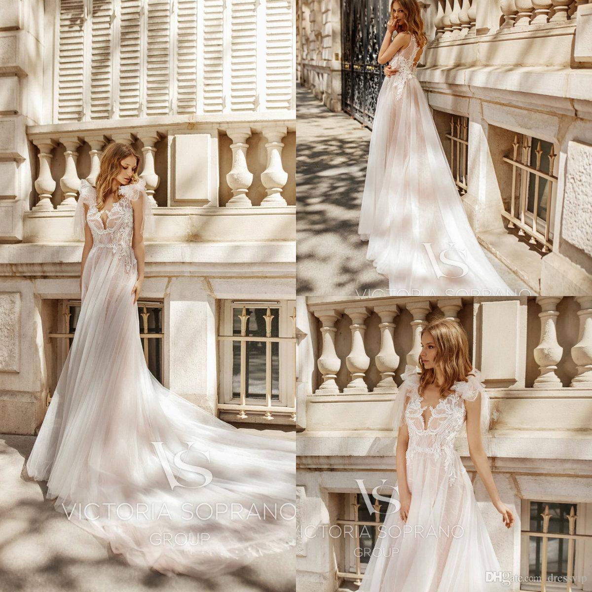 Blush Beach Wedding Dresses Spaghetti Bow Lace Appliques Long Train Hollow Back Cheap Boho Wedding Dress Summer Western Bridal Gowns
