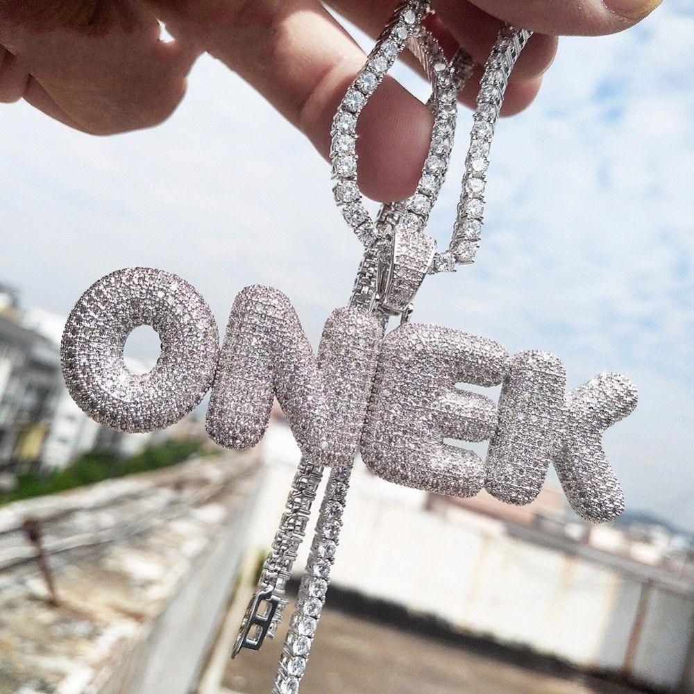 A-Z nome personalizzato bolla lettere collane ciondolo fascino per oro argento oro rosa colore cubic zircone corda catena hip hop gioielli regali