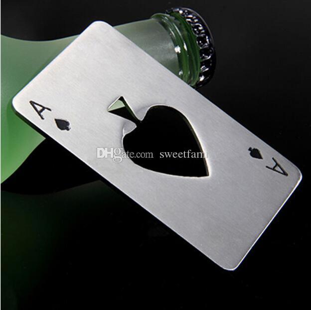 뜨거운 판매 200PCS 세련 된 포커 재생 카드 에이스 스페이드 바 도구 소 다 맥주 병 뚜껑 따개 선물