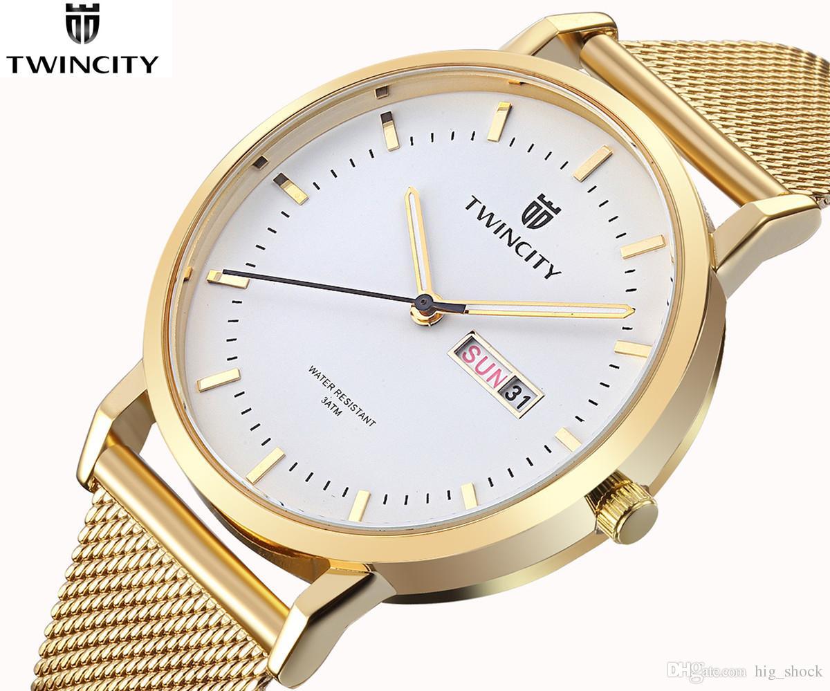 BRW Luxo TWINCITY lazer dos homens esportes relógios de quartzo reloj aço inoxidável Relogio marca vestido automático dia data genuíno relógio de pulso