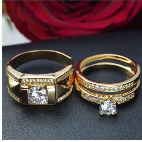 ROMAD Hip Hop Anéis de Jóias para Os Amantes do Tamanho 14 Cor de Ouro Anéis Casal Partido Jóias de Casamento anéis para mulheres anillos mujer R4