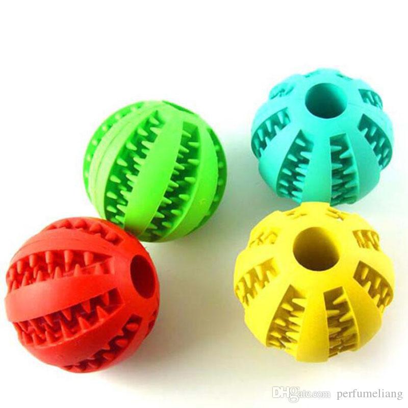 5 CM mascota de alta calidad del perro del gato cachorro juguetes para masticar pelota juguetes para masticar bolas de limpieza dental pelotas de goma del juguete del perro QW7847