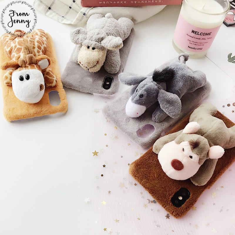 Toy Animal Lie Prone On Plush Cover Case For Iphone 7 8 10 7plus 8plus X 6 6s +Plus Cute Cartoon Donkey Monkey Giraffe Sheep