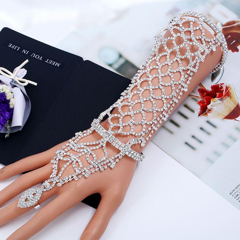 Nueva moda de cristal de plata mano Chian joyería cadena de plata mujeres novia de plata del encanto accesorios nupciales boda brazo de la mano Chian banquete de boda
