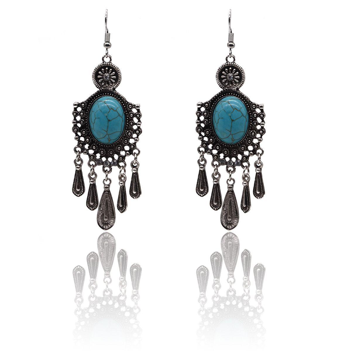 Turkuaz Küpe Tibet Gümüş Turkuaz Damla Küpe Kadınlar için Doğal Takı Küpe Marka Tasarım Sıcak Satış Bijoux Takı