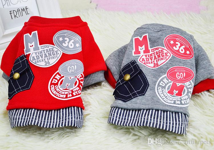 Pet Dog Jacket Winter XL with Letters Pocket for Small Dogs Girls Boy Jeans Fleece Hoodies Windproof Vest Warm Coats Red Leather