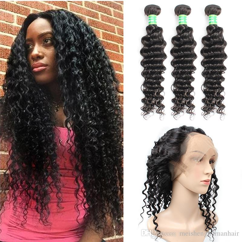 360 Lace Frontal Avec Bundles indien vague profonde humaine Bundles cheveux avec fermeture 4pcs / Lot Indian Virgin Hair Weave Avec 360 Lace Frontal