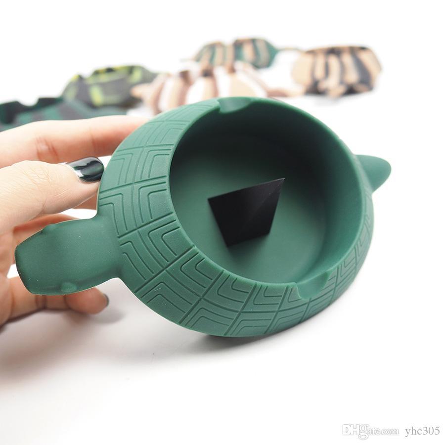 Премиум Силиконового Tortoise Пепельница Comparment для различных инструментов Unbreakable Дробления / Heat Resistant портативной пепельницы для дыма