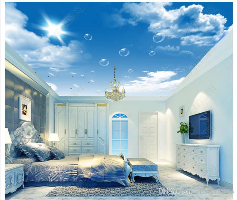 3d wallpaper custom photo ceiling mural wallpaper HD blue sky white clouds dandelion ceiling zenith wallpaper mural sticker papel de parede