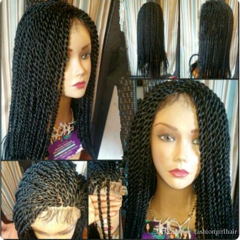 Helselling 세네갈 트위스트 꼰 레이스 프런트가 발 합성 머리 꼰 가발 긴 색 1B / 갈색 / burgunday에 대 한 흑인 여성