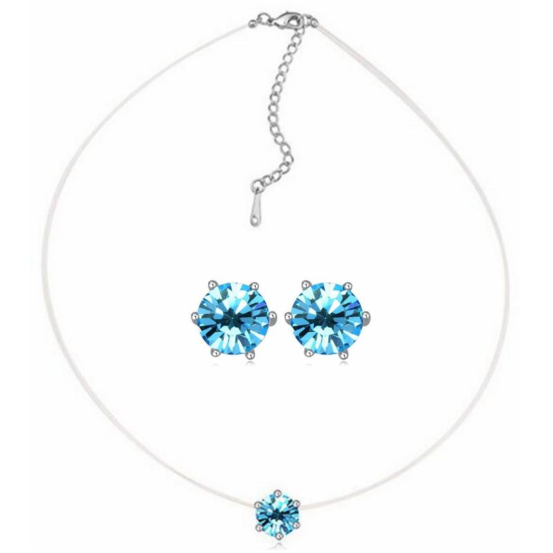 Austria Crystal Mini Necklace Classic Stars Earring Jewelry Sets Accessories White Gold Plated