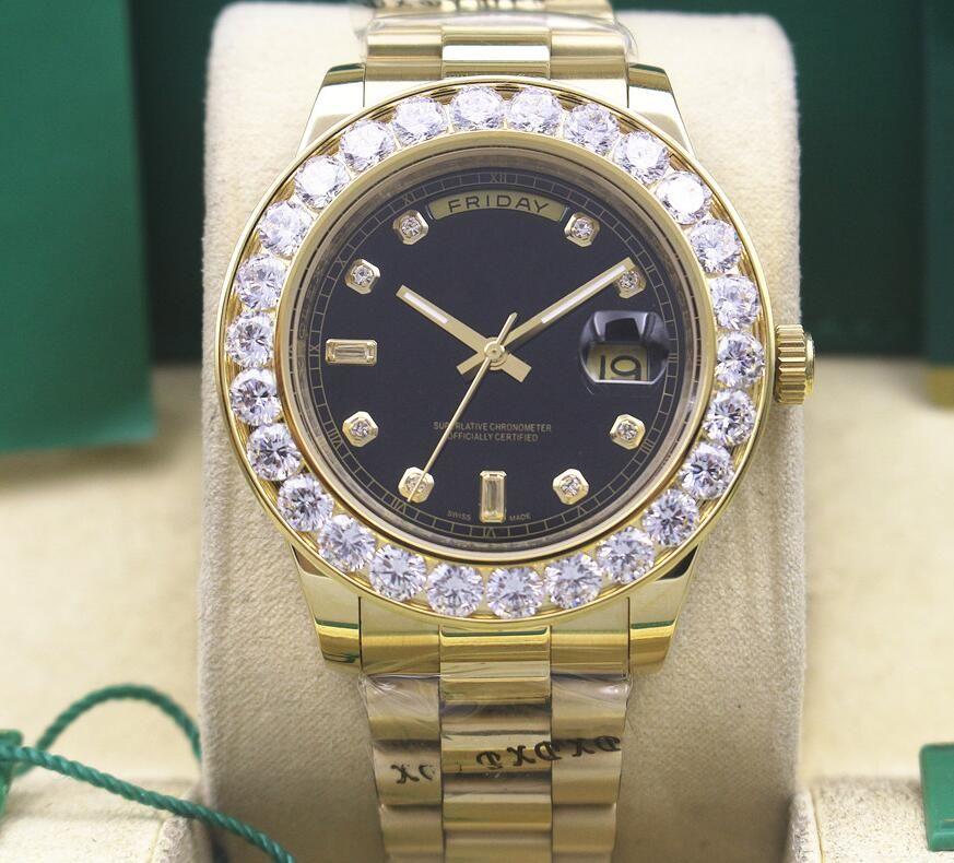 Hombres de calidad superior de lujo 18kt día-fecha PRESIDENTE Dial de diamantes y reloj automático de movimiento del bisel 118238 Relojes de pulsera de hombre negro 41mm