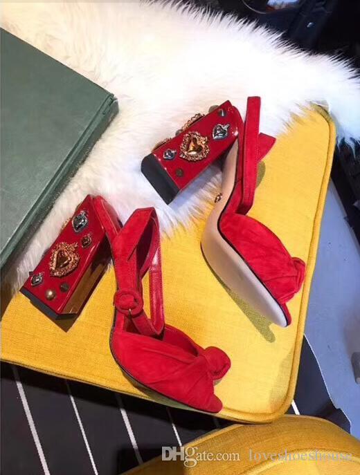 2018 verano sandalias rojas tacón grueso Moda verde Tacones altos peep toe zapatos de boda de las mujeres sandalias de diamante de cristal tacones altos