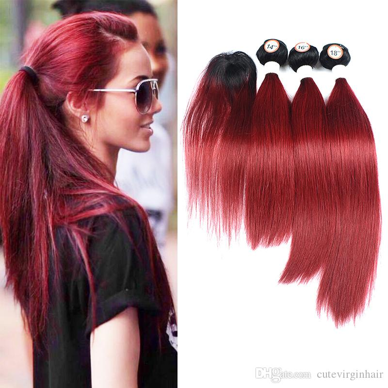 Ombre Colored Brazilian Human Hair Weave 3 Bundles With Top Lace Closure 1B/Burgundy Fashion New Hairstyles For Black Women 190-235g/Lot